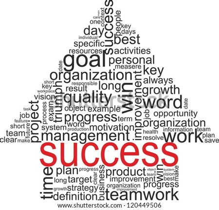 Success concept related words in tag cloud isolated on white. Arrow with different association terms. Raster illustration.