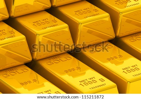 Success concept. Stacked golden bars extreme closeup