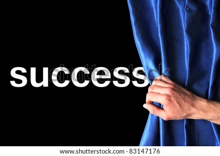 success concept with blue curtain or hand - stock photo