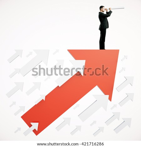 Success concept with businessman on red arrow looking into the distance on white background