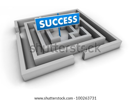 Success concept with labyrinth and blue goal sign on white background.