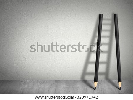 Shutterstock success creative concept, pencil Ladder with copy space