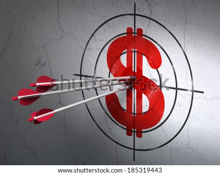 Success currency concept: arrows hitting the center of Red Dollar target on wall background, 3d render