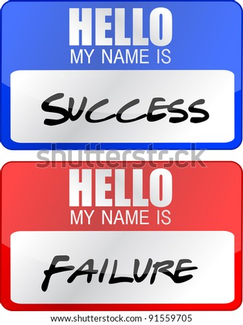 success, failure red and blue name tags illustrations