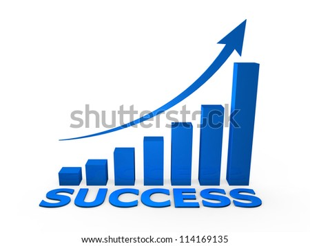 Success growth graph chart, isolated on white background.