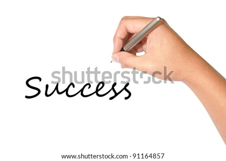 success hand writing in white background - stock photo