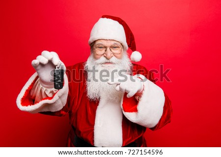 Success, happiness, dream, december, buyer, ownership, property, purchase, rent, sell, truck, cars concept. Funny aged grandfather in red traditional outfit and headwear. X mas noel surprise time! #727154596