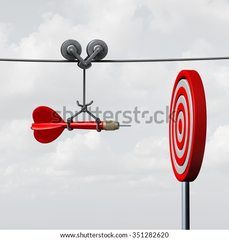 Success hitting target as a business assistance concept with the help of a guide as a symbol for goal achievement management and aim to hit the bull's eye as a dart assured to go straight to center. Сток-фото ©
