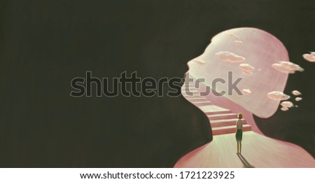 Success hope ambition and dream concept. Surreal artwork. Young woman looking at the light and a stair in a  gate, business background illustration. painting artwork. art Photo stock ©