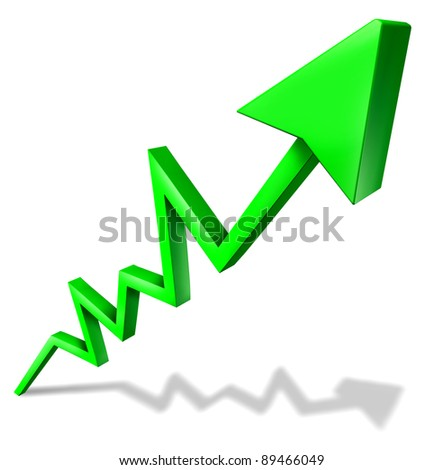 Success in business green arrow graph pointing upward and rising as a symbol of financial success and economic indicator of profitability and growth in market share on white background with shadow.