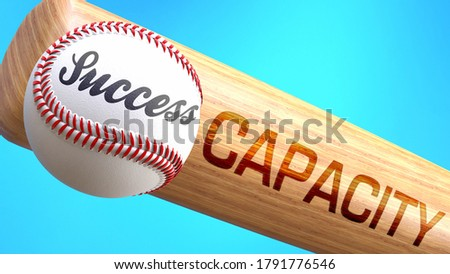 Success in life depends on capacity - pictured as word capacity on a bat, to show that capacity is crucial for successful business or life., 3d illustration