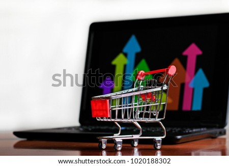 Success in Online Shopping - Trolley and Laptop #1020188302
