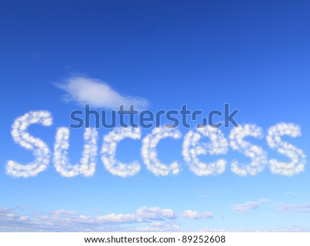 Success int the sky as clouds - stock photo