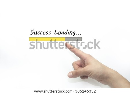 success loading Progress bar design with hand, business style concept. isolated on white #386246332