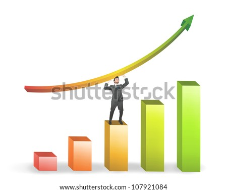 Success of a businessman with positive statistics