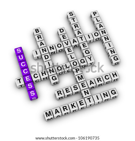 Success of Business (cubes crossword series) - stock photo