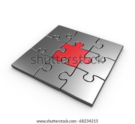 Success of business puzzles completed 3d illustration