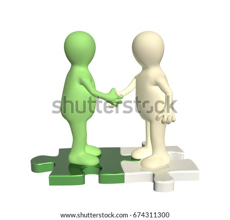 Success of teamwork. Handshake two 3d mans on attached parts of puzzles. Isolated on white background. 3d render