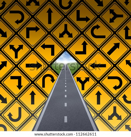 Success plan and breaking through the confusion as a wall made of a group of yellow street direction signs in a confused arrangement and a road or highway going to a blue sky finding a solution.