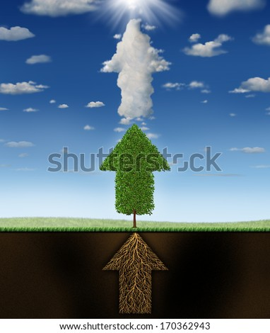 Success program business concept as underground roots of a green tree and clouds all shaped as connected arrows pointing up to a sun as a metaphor for successful planning to achieve winning goals.