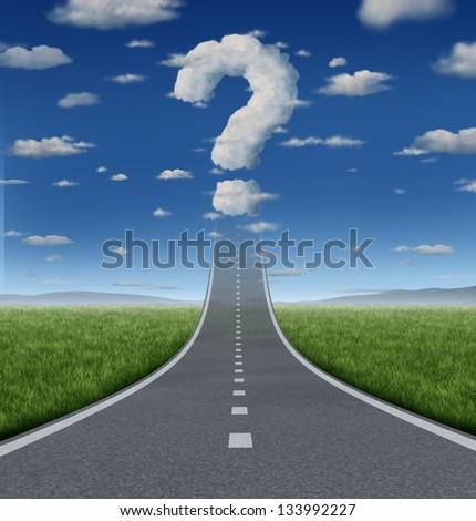 Success Questions and uncertain strategy with a road or highway going up to the sky fading into a cloud shaped as a question mark as a business concept of the challenges of reaching your goals.
