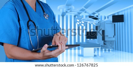 success smart medical doctor with operating room.
