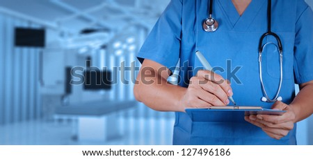success smart medical doctor working with operating room