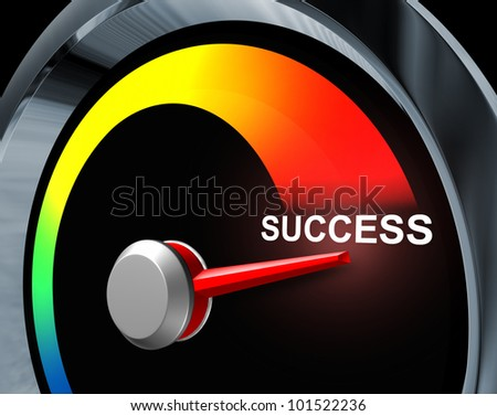 Success speedometer business concept of fast powerful achievement as a result of careful planning of a financial strategy as a speed gage measuring the improvement your goals and aspirations.