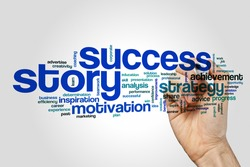 Success story word cloud concept on grey background