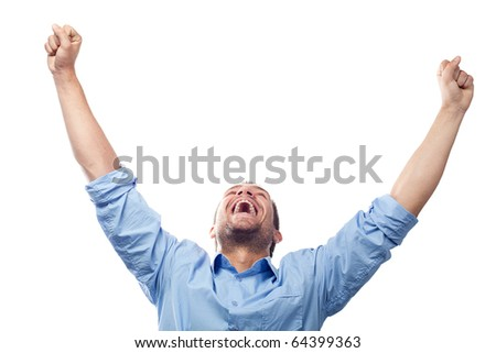 Success student with arms outstretched