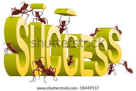 success successful building create your own fortune ants working to build 3D word isolated on white