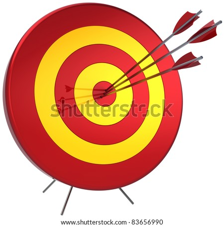 Success target lucky shooting concept. Hitting by three arrows in bull's eye. Perfectly accuracy sniper win. Detailed 3d render. Isolated on white background - stock photo