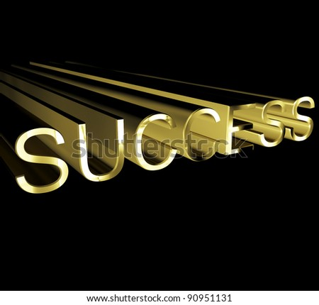 Success Text In Gold And 3d Showing Acheivenemt