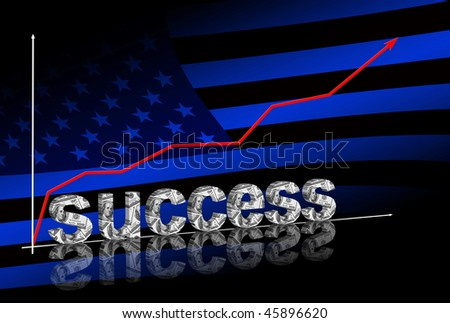 success title & red graph going up on dark blue background with american flag