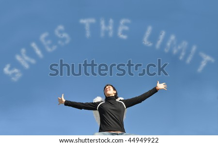 Success Unlimited Resources with Latin woman wearing angel wings under blue sky