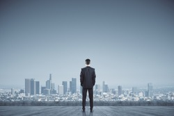 Success, vision and future concept. Back view of businessman looking into distance on rooftop with daylight city view. Copy space.