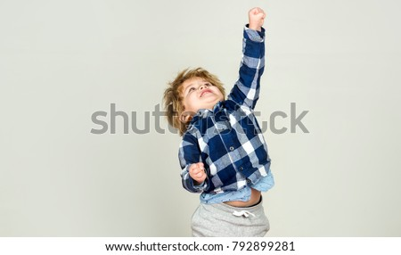 Success win. Boy is growing, child is stretching and shows fist up. Gestures and poses, child is rapidly moving forward. Results and first victory, successful project and children development. Winner