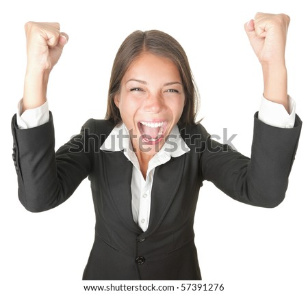 Success / winner business woman isolated. Funny image of celebrating happy young businesswoman with her arms up. High angle view with near fish eye effect. isolated on white background.