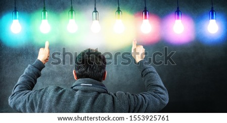 Success with Different Ideas, Thumbs up, Lightbulbs and Various #1553925761