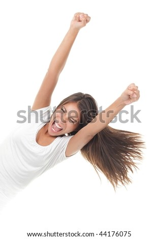Success woman screaming of joy coming out from the side. Isolated on white background.