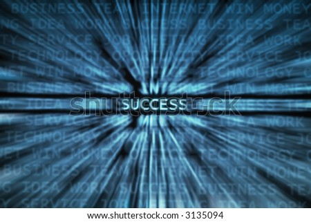 Success word focused in a business words mix background