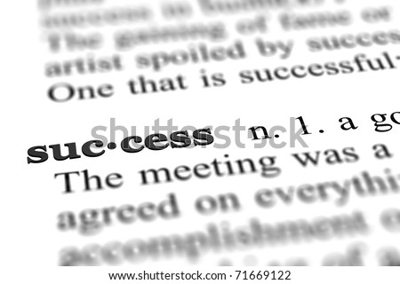 success word from dictionary, close up