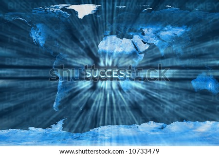 Success word shown in a business words mix background over a world map.