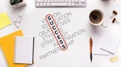 Success Wordcloud Made Of Words On Workplace White Desk Stationery With Office Supplies. Successful Career Growth And Business Goals Concept. Panorama, Collage, Above View