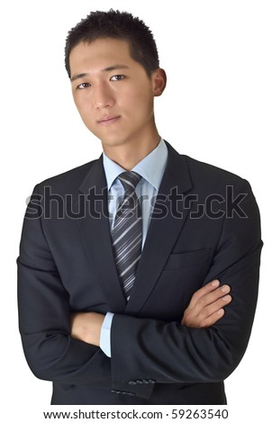 Success young businessman of Asian with confident face.