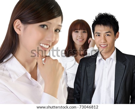 Successful Asian business woman with her team. - stock photo