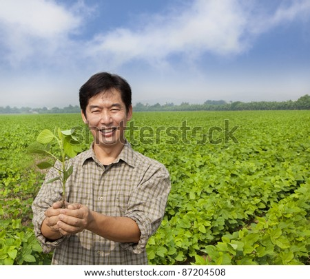 successful asian middle-aged farmer