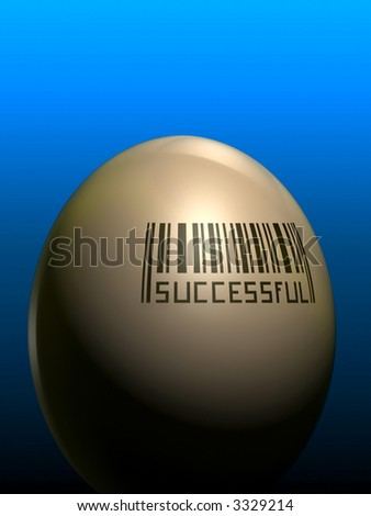 Successful bar code printed on an egg