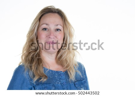 Successful blond woman on a white background #502443502