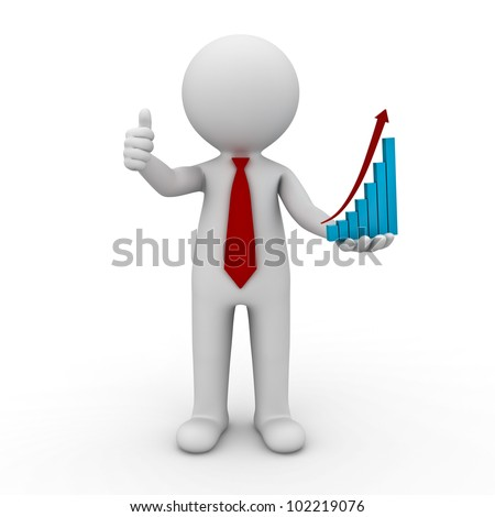 Successful Business Concept, 3d businessman showing thumbs up with rising graph chart on his hand on isolated white background